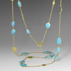 A Barbara Heinrich 18k yellow gold and turquoise necklace @Quadrum