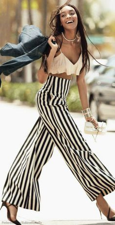 Black & White  Stripe High Wasted Pants..luv! Jordan Dunn | Allure Magazine
