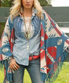 This Multi Blue & Red Geo Heritage Shawl by Tasha Polizzi is perfect! #zulilyfinds