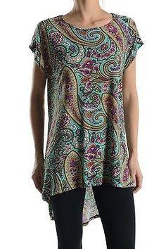 Paisley Print Short Sleeve Asymmetrical Hi-Low Hem Long Tunic Top Shirt