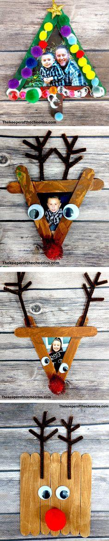 Easy Christmas Craft Stick Photo Frames