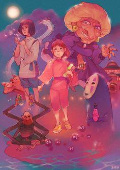 Spirited Away by Barukurii in Studio Ghibli Animated Films: Awesome Fan Artworks Studio Ghibli Art, Studio Ghibli Movies, Hayao Miyazaki, Chihiro Y Haku, Le Vent Se Leve, Howls Moving Castle, My Neighbor Totoro, Animation Film, Fanart