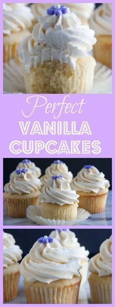 Perfectly light and fluffy vanilla cupcakes topped off with a swirl of the creamiest vanilla buttercream frosting you will ever tasted! Be sure to pin this now because you will definitely want to make these later! http://www.bostongirlbakes.com/2016/05/10/perfect-vanilla-cupcakes/