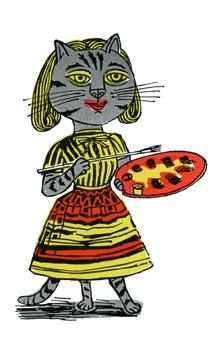 """""""Arty Cat"""" by Edward Bawden from """"Fortnum & Mason's Christmas CATalogue, 1958"""