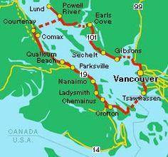 Coastal Circle Route - Discover the Sunshine Coast and the east coast of Vancouver Island. Vancouver Travel, Vancouver Island, Vancouver Vacation, West Coast Canada, Sunshine Coast Bc, Road Trip Map, Visit Canada, Travel Maps, Canada Travel