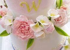 Soft Pink Ohara Garden Roses, Pecher Peony Buds & White Hydrangea Sugar Flowers