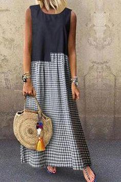 Women's Classic Plaid Printed Dress – Linen Dresses For Women Linen Dresses, Casual Dresses, Casual Outfits, Summer Dresses, Maxi Dresses, Fashion Sewing, Boho Fashion, Fashion Dresses, Womens Fashion