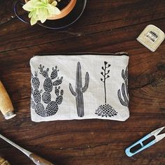 Zippered cactus pouch