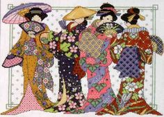 Title: Oriental Women - Completed as friendship gift Cross Stitch Kits, Cross Stitch Designs, Cross Stitch Patterns, Cross Stitching, Cross Stitch Embroidery, Asian Quilts, Baby Flower Headbands, Japanese Embroidery, Crafty Craft
