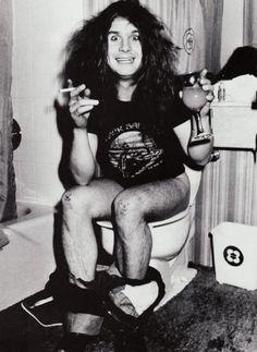 Ozzy on toilet.