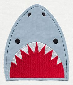 Shark Pocket Topper Applique | Urban Threads: Unique and Awesome Embroidery Designs