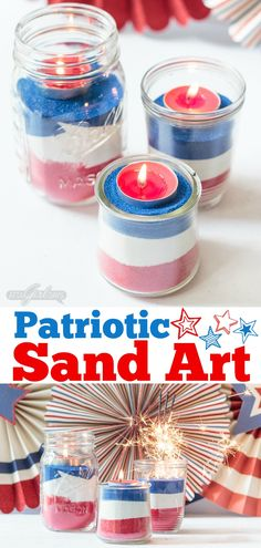 Looking for a easy patriotic decorating ideas for July 4th? Create an easy sand art centerpiece using mason jars, colorful sand and tealight candles. Kids will love helping with this project. Don't miss the video that shows you how to make them! #july4th #patriotic #sandart #redwhiteandblue #kidscrafts via @ajastro Weekend Crafts, Summer Crafts, Diy Crafts For Kids, 4th Of July Party, 4th Of July Celebration, Fourth Of July, Sand Candles, July Crafts, Patriotic Decorations