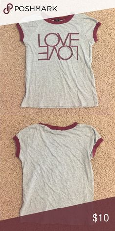 Love graphic tee good condition. grey & maroon t-shirt Forever 21 Tops Tees - Short Sleeve