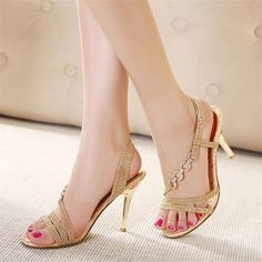 Women High Heels Sandals Party Shoes Stiletto Bohemia Open Toe Strappy Gold Source by duyguaksum de mujer dorados Wedding High Heels, Wedding Shoes, Bridal Sandals, Gold Sandals, Gold Heels, Bridal Shoes, Stiletto Heels, Shoes Heels, Open Toe High Heels