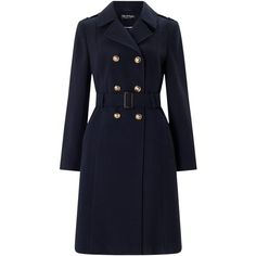 Miss Selfridge Military Coat, Navy (€65) ❤ liked on Polyvore featuring outerwear, coats, navy blue double breasted coat, blue coat, navy double breasted coat, pattern coat and field coat