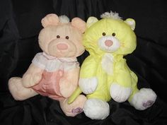 Only $34.99 For Both with FREE Shipping!  Fisher Price Puffalump Lot 1986 Peach Bear Yellow Cat Collectible Lovey Toys Vtg | eBay