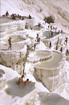 Lounge in the natural rock pools in Pamukkale, Turkey