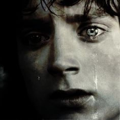 "Frodo in black and white depressed and crying. ""If only he could have heard them cry 'For Frodo!'"" <--Pinned for the caption."
