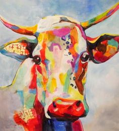 Contemporary Cow, original painting by artist Kay Smith | DailyPainters.com