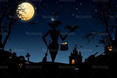 Check out Halloween Night Vector Wallpaper by EezyPremium on Creative Market