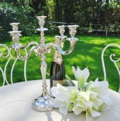 Stunning table Candelabra you can buy 2 get 1 free on Candelabras and Weddings Navy Blue Bridesmaids, Antique Lanterns, Silver Table, Vintage Candle Holders, Light Of My Life, Candelabra, Vintage Fashion, Colours, Candles