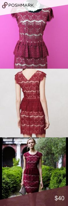 """Anthropologie Maeve Burgundy Peplum Lace Dress New Anthropologie Elsa Burgundy Peplum Lace Dress by Maeve   Size: Medium  Flouncy peplum skirt and fringed lace tiers  Back zip Cotton, nylon; polyester lining Dry clean Regular: 38.25""""L Anthropologie Dresses Mini"""