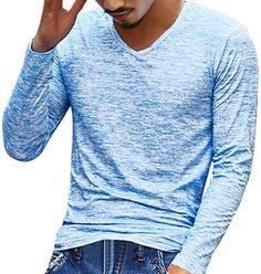 Sweatshirt Herren Longra Herren Solid V Neck Langarm T-Shirt Top Slim Bluse  Langarmshirt Rundhals c167c00923