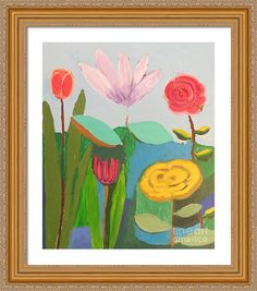 Flowers Framed Print featuring the painting Imagined Flowers One by Rod Ismay