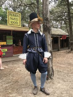 Early style suit made out of blue silk taffeta. Suit was made by Matthew Gnagy. Renaissance Men, Renaissance Clothing, Medieval Fashion, Baroque Fashion, European Fashion, Historical Costume, Historical Clothing, Fantasy Costumes, Male Costumes