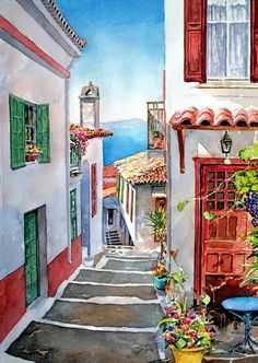 Watercolor Landscapes by Pantelis D. Zografos  (LORI - check out her art journal board)