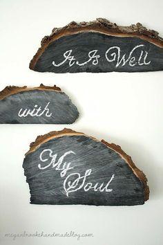 Wood Chalkboards {Black Chalkboard} - Very Shabby Chic; Tree Crafts, Wood Crafts, Fun Crafts, Diy Wood, Black Chalkboard, Chalkboard Paint, Chalkboard Signs, Chalkboard Verse, Chalk Paint