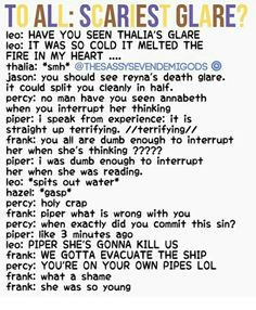 Yup or Percy's remember when Leo said that Percy's natural glare looks like Jasons when he's about to shoot lighting? Percy's Normal face Percy Jackson Head Canon, Percy Jackson Quotes, Percy Jackson Fan Art, Percy Jackson Books, Percy Jackson Fandom, Magnus Chase, Percabeth, Solangelo, Percy And Annabeth