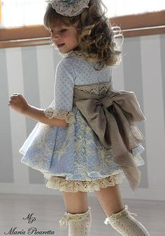 Gorgeous dress with matching little hat. Blue and beige dress with lace. Baby Girl Dress Patterns, Little Dresses, Little Girl Dresses, Baby Dress, Cute Dresses, Flower Girl Dresses, Little Kid Fashion, Baby Girl Fashion, Kids Fashion