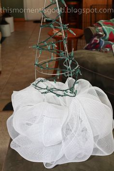how to make a deco mesh tree with a tomato cage - Google Search