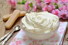 Crema al mascarpone con uova pastorizzate Biscotti, Mousse, Icing, Desserts, Cream, Mascarpone, Tailgate Desserts, Deserts, Postres