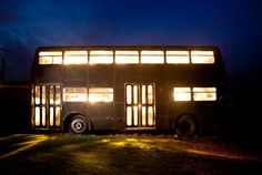 A double decker bus that is being converted into a vacation getaway.  Love it!