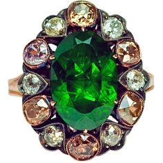 Preowned Russian 5 Ct Demantoid Fancy Colored Diamond Antique Ring ($75,000) ❤ liked on Polyvore featuring jewelry, rings, multiple, fancy jewelry, tsavorite jewelry, preowned rings, tsavorite garnet ring and green garnet ring