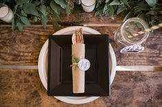 Place setting from a Grizzly Bear Man Cub 1st Birthday Party on Kara's Party Ideas | KarasPartyIdeas.com (34)