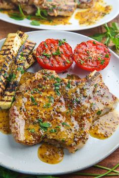 Honey Mustard Grilled Pork Chops Recipe : Quick easy and tasty grilled honey mustard pork chops; perfect for out door grilling on warm summer days! Pork Chop Marinade, Bbq Pork Ribs, Grilled Pork Chops, Boneless Pork Chops, Baked Pork Chops, Honey Mustard Pork Chops, Honey Mustard Recipes, Best Pork Chop Recipe, Pork Rib Recipes