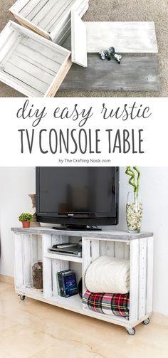 Diy easy rustic tv console table crate tv stand, diy tv stand, home decoracion Console Tv, Rustic Tv Console, Farm House Tv Console, Rustic Tv Stands, Unique Tv Stands, Tv Unit Furniture, Pallet Furniture, Home Furniture, Furniture Stores
