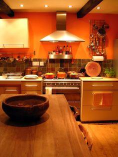 blue brown orange kitchen - Google Search