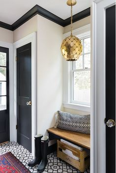 Mudroom with built-in bench, black interior doors, black trim, black cabinets and back and white cement tile Mudroom with built-in bench, black interior doors, black trim, black cabinets and back and white cement tile Mudroom with built-in bench, black interior doors, black trim, black cabinets and back and white cement tile #Mudroom #builtinbench #blackinteriordoor #blacktrim #blackcabinet #backandwhite #cementtile