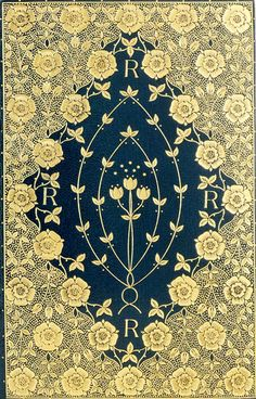 T.J. Cobden-Sanderson - fine binding  On: Dante Gabriel Rossetti. Poems. London: F. S. Ellis, 1870  Deep blue goatskin, richly gilt to a floral mandorla pattern, with gilt and gauffered edges, and with endpapers of Morris silk brocade; signed and dated 1891. The delicate floral patterns, here using roses and tulips, are inspired by William Morris' designs but do not slavishly copy or follow them.