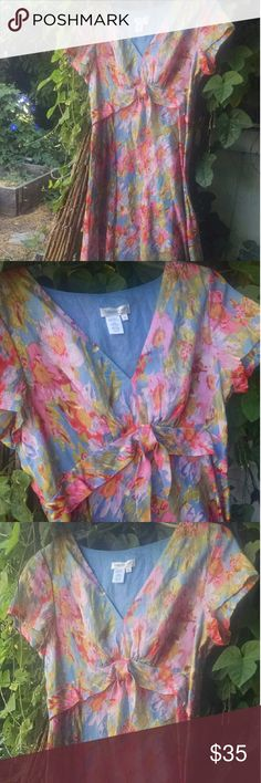 "HP 8-14 ....Coldwater Creek Short Sleeve Dress Water color print high waisted V-neck. dress with a band and knot under the bust line. Flares out at the bottom. Flirty, sassy and fun. Goes over the head. Beautiful blues, pinks, greens, a tad of cream. Looks like you just splashed a palette of colors. Worn maybe once. I know I tried it on.  100% Cotton  Back length 43.25"" Neck to band 13"" Band is 2""  Smoke free/pet friendly home Coldwater Creek Dresses"