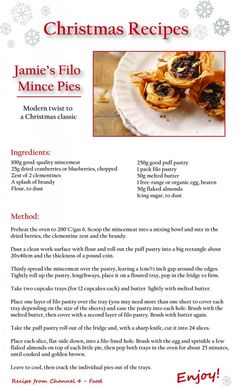 Jamie Oliver's Christmas Mince Pies Christmas Nibbles, Christmas Cooking, Christmas Treats, Christmas 2017, Merry Christmas, Mince Meat, Mince Pies, Best Pancake Recipe Ever, Holiday Recipes