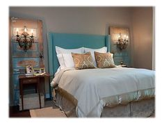 Look at old doors with lights! Really like this distressed turquoise color for the bedroom. Lights wall mounted on either side of bed.