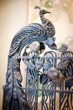 wrought iron peacock