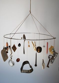 found objects - pin over housekeeping area table as chandelier? Mobiles, Diy For Kids, Crafts For Kids, Diy Crafts, School Murals, Sustainable Furniture, Found Object Art, Recycled Art, Art Plastique