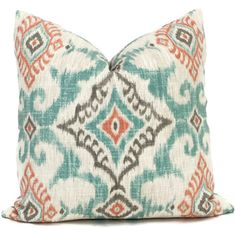 Decorative Pillow Cover Turquoise and Shrimp Ikat by PopOColor