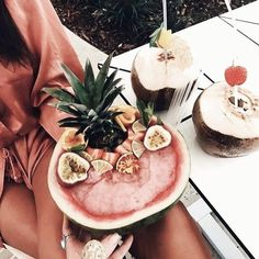summer watermelon frozen sharing cocktail slush + strawberries, passionfruit, pineapple and lime, in watermelon shell bowl I Love Food, Good Food, Yummy Food, Food N, Food And Drink, Diy Food, Baby Food Recipes, Healthy Recipes, Eat Healthy